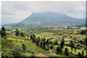 Imbabura Volcano with Agricultural Cultivation in the Foreground, near Otavalo