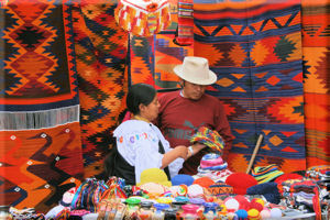 Alpaca Wool Blankets in a Booth at the Otavalo Market